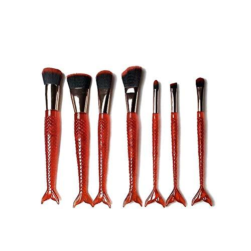 Sets de pinceaux de Maquillage 7 pièces Pinceau de Maquillage Queue de Poisson 7 pièces Pinceau de réparation Pinceau Outils de beauté Brosse de beauté Portable Pinceau de Maquillage (Taille : Red)