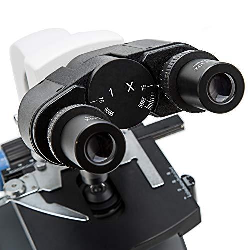 Swift Optical 40X-2500X, Siedentopf Binokular-Kopf, Forschungsniveau Compound-Labormikroskop mit Weitwinkel 10X und 25X Okularen, LED-Leuchtung, Mechanisches Kreuztisch, 1.3MP-USB-Kamera und Software