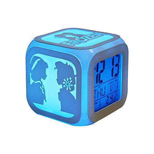 ARAUJOBARGAIN Square LED Alarm Clock, Cubic Alarm Clock with Snow Princess Silhouette, Colorful Light-up Alarm Clock, Snow Princess Digital Alarm Clock, Colorful Room Décor