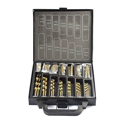 Newest 99 Pieces Diameter from 1.5mm to 10mm Titanium Coating HSS P6M5 Twist Drill Bit Set (Color : 99PCS Drill bit Box)