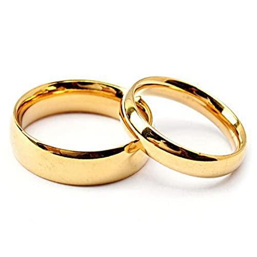 Aotiwe Anillos Pareja, Regalos de Aniversario Anillo de Oro Pulido de 4/6 mm de Ancho M 12 & H 25 Mujer Hombres Promesa