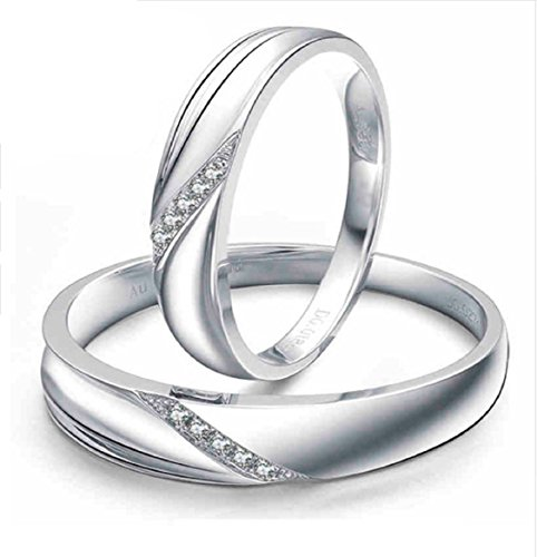 GOWE Real 18K Solid White Gold Wedding Bands For Couples Certificated His And Hers Fine Engagement Ring Sets For Women