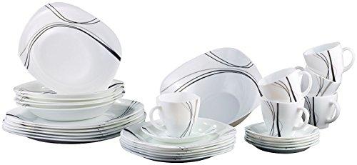 Rosenstein & Söhne Opalglasgeschirr: Opalglas- Kombi-Service, schwarze Linien, 31-teilig (Opalglas Geschirr Camping)