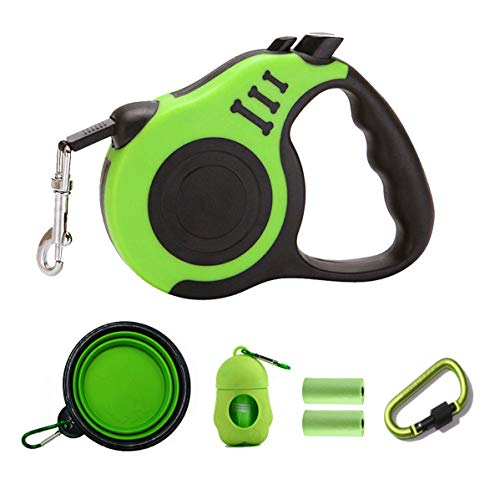 PETIMP STORE Retractable Dog Leash 16ft with Dog Waste Bag Dispenser Dog Bowl for Small Medium Dog (6 PCs) (Green)