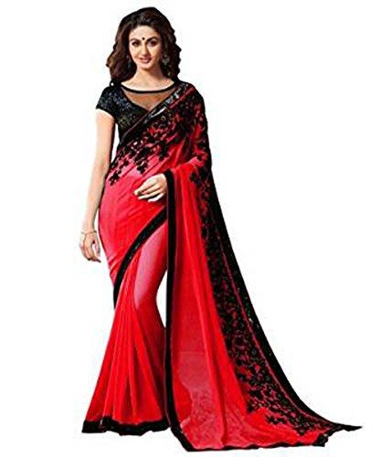 JHTEX FASHION Indian Women's Designer Fancy Georgette Saree Free Size Red