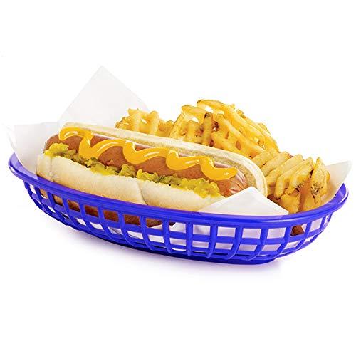 Cesta clásica ovalada para alimentos, color azul, 24 x 15 x 5 cm, cesta de plástico