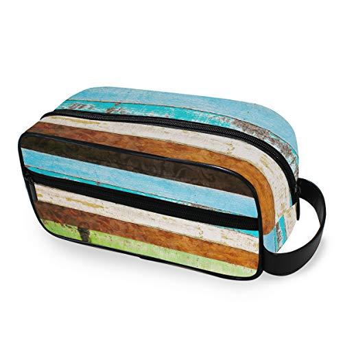 Bolsa de maquillaje portátil Caja Vintage Rainbow Herramientas de almacenamiento de madera Estuche de tren cosmético Bolsa de aseo de viaje