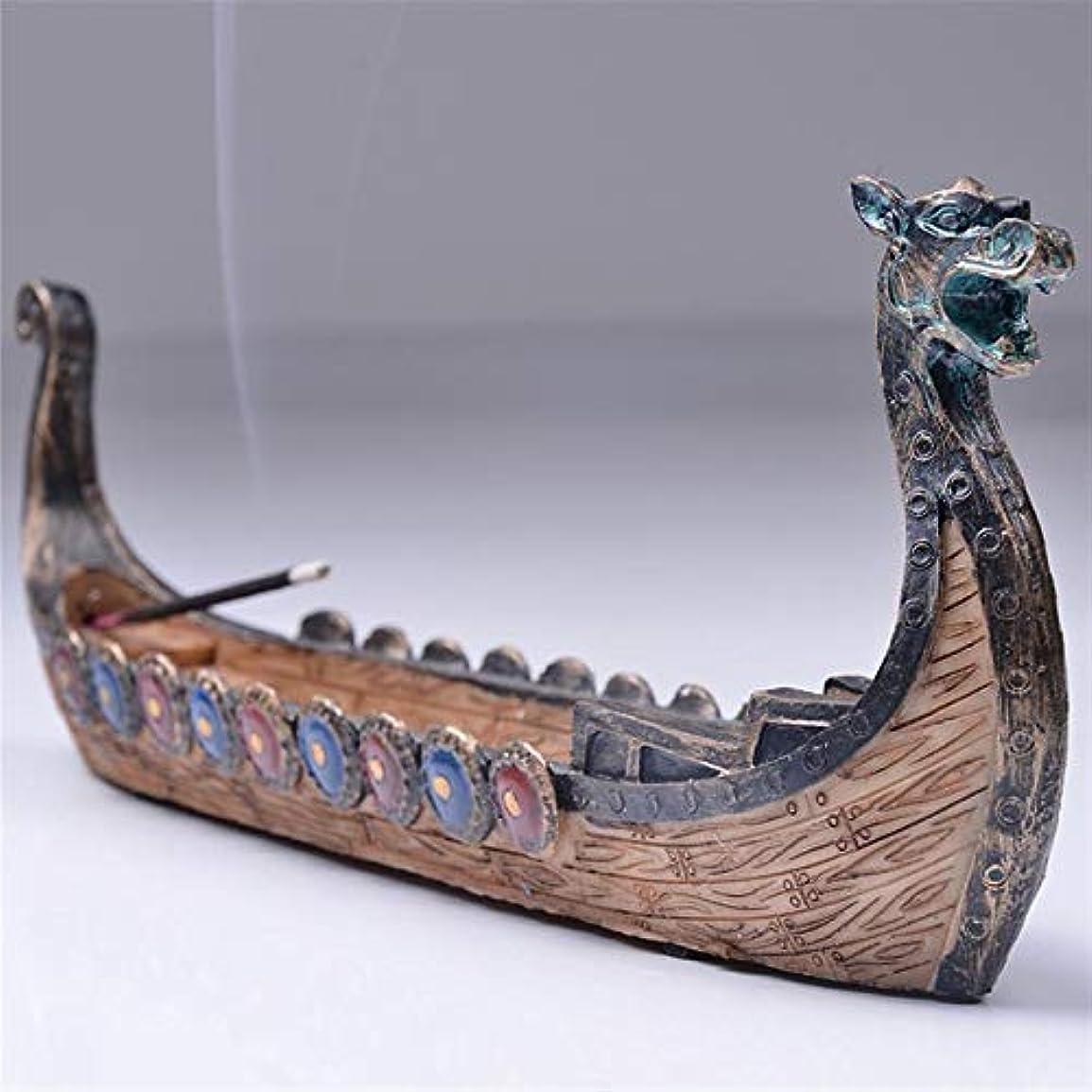 記念品ただやる意図的Ochoos ドラゴンボート 線香ホルダー バーナー 手彫り 彫刻 香炉 オーナメント レトロ 香炉 伝統的デザイン #SW