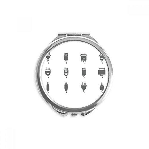 DIYthinker Schaltplan Steckdose Muster Spiegel Runde bewegliche Handtasche Make-up 2.6 Zoll x 2.4 Zoll x 0.3 Zoll Mehrfarbig