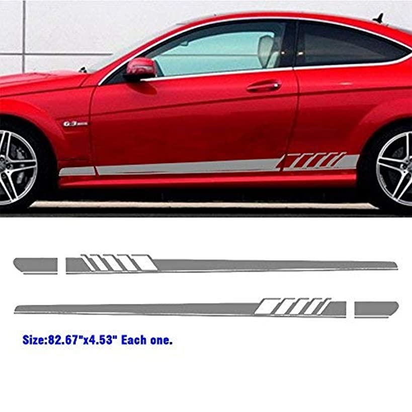 Boilipoint Fit for All Car 1Pair/2pcs Auto Side Skirt Car Sticker Decal Sticker Vinyl Side Sport Stripe Kit Racing Door Side Body for All Cars SUV Free Size Matte Color