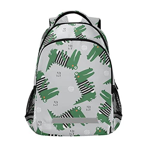 Mochila para portátil para niñas y niños escolares, duradera y linda bolsa de cocodrilo con tira reflectante de 42,4 x 29,5 x 17,5 cm