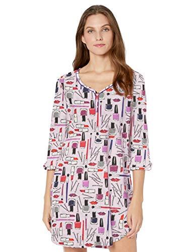 Karen Neuburger Women's 3/4 Sleeve Nightgown Pajama Sleepshirt Pj, Lipstick and Nail Polished Print Lavender Pink, L