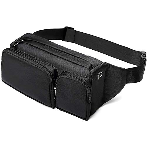 Large Fanny Pack, Cambond Waist Bag for Men Women, Hip Bum Bag with Headphone Jack and Adjustable Strap for Outdoors Workout Traveling Casual Running Hiking Cycling, Black