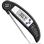 Brifit Food Thermometer, Digital Instant Read Meat Thermometer with Probe for Kitchen Cooking, BBQ, Poultry, Grill, Foldable, Fast & Auto On/Off, for Chiristmas Gift, Black
