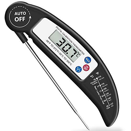 Brifit Voedsel Thermometer, Digitale Instant Read Vlees Thermometer met Sonde voor Koken in de Keuken, BBQ, Gevogelte, Grill, Opvouwbaar, Snel Automatisch Aan/Uit
