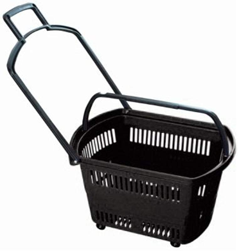 Set Of 6 BLACK Grocery Shopping Carts Retail Grocery Baskets W Swivel Wheels Pull Along Handle Fold Up Handles For Easy Lifting Heavy Duty ABS Plastic 23 6 X 13 7 X 14