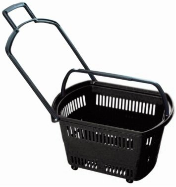 Grocery Shopping Carts – Retail Grocery Baskets w/Swivel Wheels, Pull-along handle + Fold-up Handles for Easy Lifting. Heavy-duty ABS Plastic (BLACK, LARGE 3 Pk.)