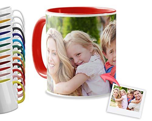 Tazas Personalizadas con el Interior y asa de Color | Diséñalas con Fotos y Texto | Tazas Color: Rojo