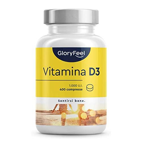 Vitamina D3 1000 IU per Compressa (25mcg), 400 Compresse (Scorta 1+ Anno), Vit D ad Alto Dosaggio, Integratore Vitamina D3 Colecalciferolo, Supporta Ossa, Denti, Muscoli e Difese Immunitarie
