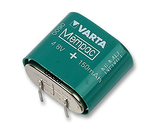 Rechargeable Battery, Robust, 4.8 V, Button Cell, Nickel Metal Hydride, 150 mAh, PCB Pins