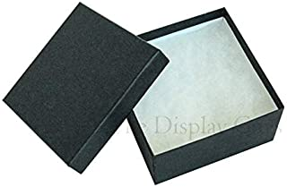 """TheDisplayGuys 25-Pack #34 Cotton Filled Cardboard Paper Jewelry Box Gift Case - Matte Black (3 7/8"""" x 3 7/8"""" x 2"""")"""