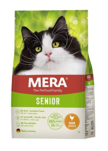 MERA Cats Senior Huhn, Trockenfutter für Sensible Katzen, getreidefrei & nachhaltig, Katzentrockenfutter mit hohem Fleischanteil, 2 kg