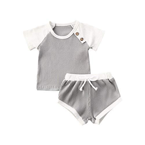 Mädchen Junge Sportanzug Kleinkind Baby Gestrickte Patchwork T-Shirts Kurzarm Tops Shorts Kleidung Set Sport Wear Outfits, Grau, 2-3 Jahre