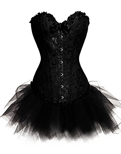 Corsetto da donna per taglie forti, lingerie per burlesque con gonna tutù, ideale per Halloween Black 42