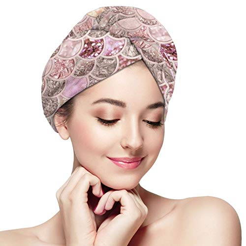 SWEET TANG Women Girl Pink Mermaid Fish Scales Hair Drying Towel Anti-Frizz Super Absorbent Soft Salon Dry Hair Hat Quick Dry Bath Shower Hair Turban for Drying Wet Hair