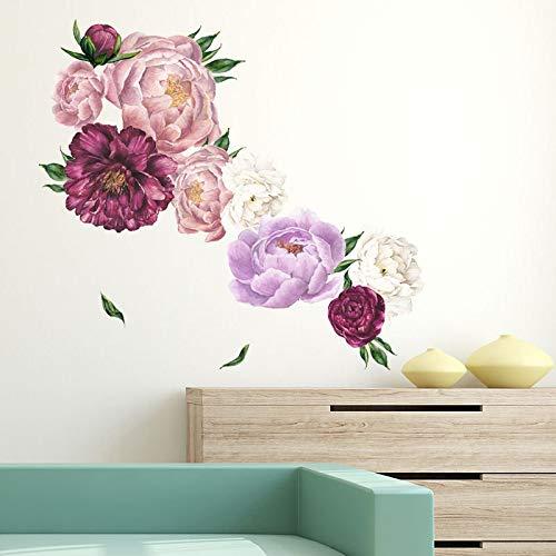 aolongwl Pegatinas de pared 1 pieza 3D flores pegatinas de pared vintage peonía decoración del hogar para dormitorio decoración de habitación papel pintado DIY pegatinas de vinilo