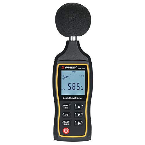 Kstyhome High Accuracy LCD Digital Noisemeter Schallpegelmesser 30-130dB Geräuschpegelmessgerät Dezibel-Überwachungstester mit A- und C-Frequenzbewertung für Schallpegelprüfungen
