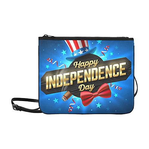 WYYWCY Happy Independence Day Party Poster Flyer Benutzerdefinierte hochwertige Nylon Slim Clutch Cross Body Bag Schultertasche