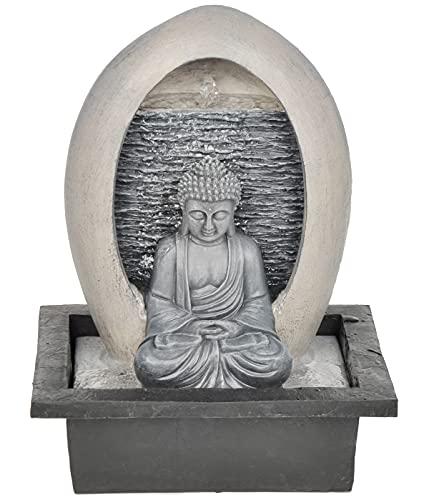 Dehner Zimmerbrunnen Malu mit LED Beleuchtung, ca. 40.5 x 30 x 23 cm, Polyresin, grau/beige