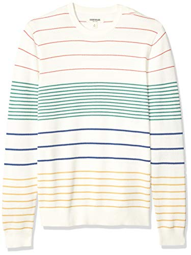 Goodthreads Men's Soft Cotton Multi-Color Striped Crewneck Sweater, White Primary, Large