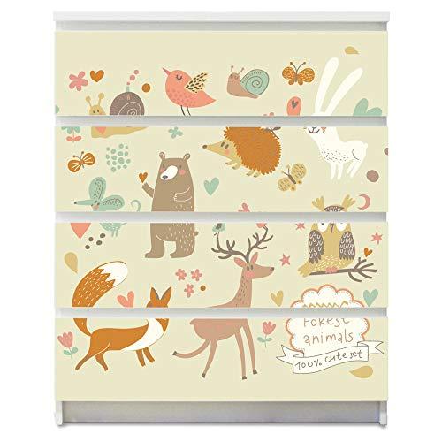 banjado Möbelaufkleber für Kinder-Zimmer | Selbstklebende Möbelfolie passend für IKEA Malm Kommode | Wandtattoo Deko mit Design Waldtiere für 4 Schubladen