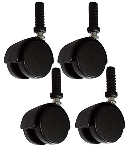 Aerzetix: 4 x Rollen für Möbel drehbar Durchmesser 40 mm Höhe 88 mm 25 kg Schaft Ø 8 mm C42661