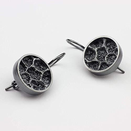 Ohrringe Silber Koralle Brisuren schwarz außergewöhnlicher Echt-Schmuck Ohrhänger