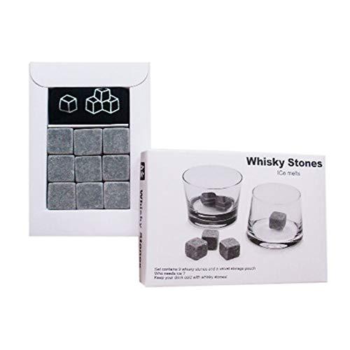 PCWS 9 Stück Whiskey Steine aus natürlichem Granit | MIT Beutel | In Grau | Wiederverwendbare Whiskysteine, Whiskey Stones, Würfel, Kühlsteine | Ideal für Vodka, Gin, Cocktail, Coktail - 5