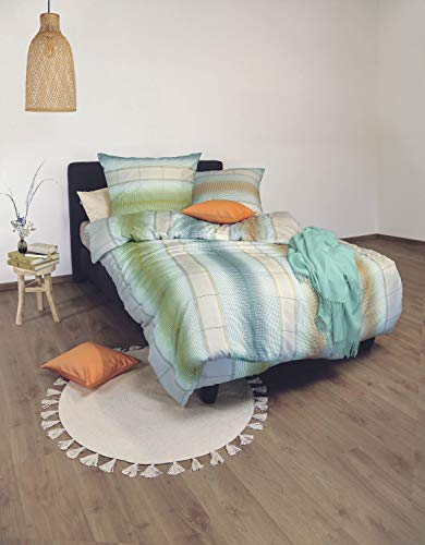 Irisette Bettwäsche Soft-Jersey grün-Petrol-orange Größe 135x200 cm (80x80 cm)