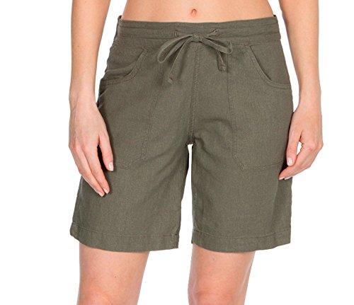 Lora Dora Damen Shorts aus Leinenmischung mit Gerippter Taille - Khaki Größe EU 46