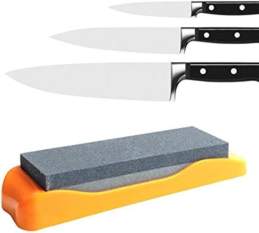Yamesu Whetstone Knife Sharpening Stone 400 1000 Grits 2 Sided Knife Sharpener Set With Non Slip Rubber Base And Flattening Stone