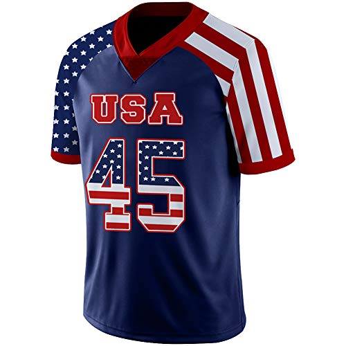 Edworder Trump#45 Football Jersey USA Flag Style for Men/Women/Youth