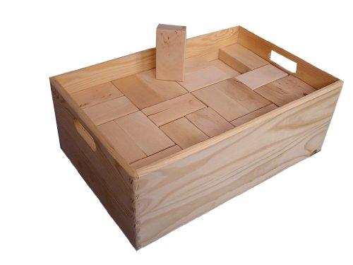 """baukid Holzbauklötze """"Kiste 80"""", stabile Geschenkekiste mit 80 Bauklötzen für Kindergarten- und Schulkinder, große Klötze aus unbehandeltem Holz aus nachhaltiger Forstwirtschaft, fördert die Kreativität Ihres Kindes"""
