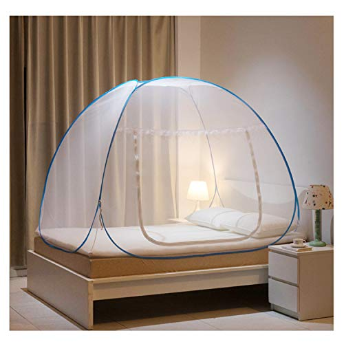Mosquito Net Bed Canopy Camping Double Portable Travel Home Anti Mosquito Tent Foldable Pop Up Mosquito Net for King Bed Netting Free Standing Kids Adult Bottomed Sleep Bug Nets Outdoor(180*200*150cm)