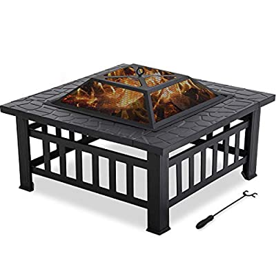 """Vnewone 32'' Outdoor Fire Pit Metal Square Firepit Patio Stove Wood Burning for Backyard Garden Camping Picnic Bonfire with Spark Screen Cover, Log Grate, Poker,32"""" L32 W 14"""", Black"""