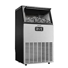 Euhomy Commercial Ice Machine, 150lbs/24H Stainless Steel Under Counter ice Machine with 33lbs Ice Storage Capacity, Freestanding Ice Machine for Home/Kitchen/Office/Restaurant/Bar/Coffee.
