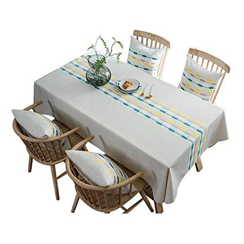 KUATAO Mantel de algodón Andnessic impermeable y a prueba de fugas grueso mantel rectangular de alcantarillado líneas bordadas cocina hospital restaurante cafetería cena
