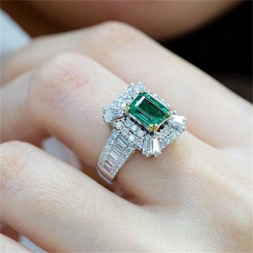 TZ Way Vintage 925 Sterling Silver Emerald Ring Cocktail Rings Square Cut Green Gem Cubic Zirconia Anniversary Promise Ring CZ Eternity Engagement Wedding Band Ring for Women TZ.85 (US Code 7)