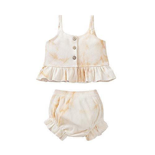 ZZLBUF Conjunto de ropa de verano para niñas pequeñas y niñas, sin mangas, con volantes