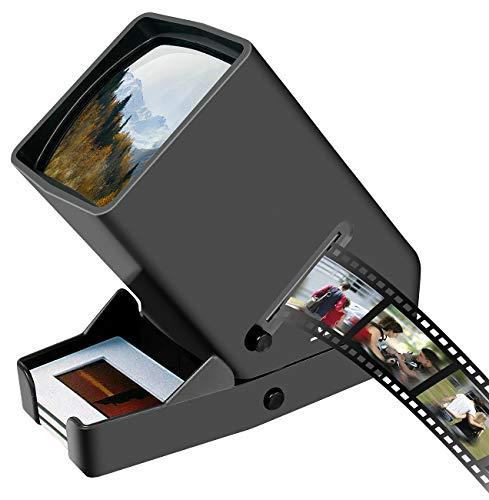 Somikon Visor de Diapositivas: Visor móvil de Diapositivas y Negativos con iluminación LED, Aumento 3X (Espectador Negativo)